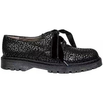 Schuhe Damen Derby-Schuhe Gennia KRISTEL Schwarz Veloursleder Jaguar-Print Schwarz