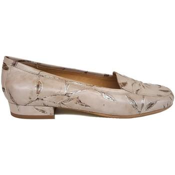 Schuhe Damen Slipper Gennia MAGIC Nappaleder Beige Blumendruck Beige