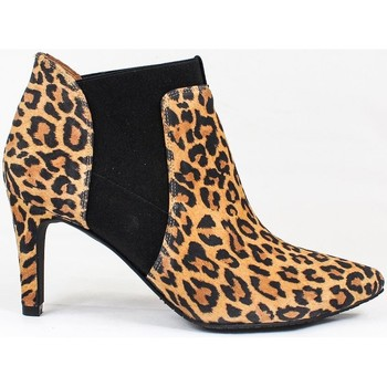 Schuhe Damen Low Boots Gennia MALOME Veloursleder Leopard Braun
