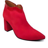 Schuhe Damen Low Boots Gennia MEDCUR Rot Veloursleder Lackleder Rot