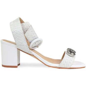 Schuhe Damen Sandalen / Sandaletten Gennia SAHARA Nappaleder + Flechtoptik Weiß Weiß