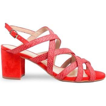 Schuhe Damen Sandalen / Sandaletten Gennia SOFIA Leder in Flechtoptik und Veloursleder Korallrot Rot