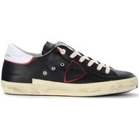 Schuhe Herren Sneaker Low Philippe Model Sneaker Paris X in pelle nera con spoiler bianco Schwarz