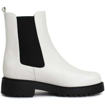 Schuhe Damen Low Boots Gennia KEOPS Rindsleder & -band Weiß Schwarz Weiß