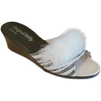 Schuhe Damen Pantoffel Milly MILLY102zebra bianco