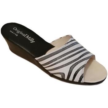 Schuhe Damen Pantoffel Milly MILLY103zebra bianco