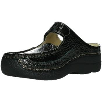 Schuhe Damen Pantoletten / Clogs Wolky Pantoletten 06227 Roll Slipper - 65210 Leder anthrazit 2057 schwarz