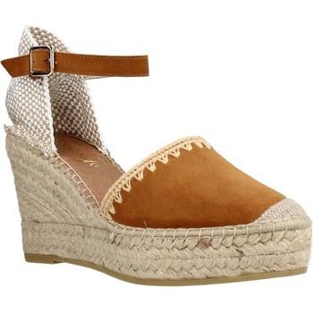 Schuhe Damen Leinen-Pantoletten mit gefloch Vidorreta 07112ANTI Brown