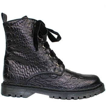Schuhe Damen Boots Gennia KENDAL Schwarz Leder Kroko-Prägung Schwarz