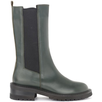 Schuhe Damen Klassische Stiefel Via Roma 15 Beatles alto in pelle color oliva Grün