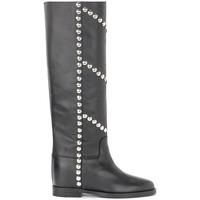 Schuhe Damen Klassische Stiefel Via Roma 15 Stivale in pelle nera con borchie frontali e laterali Schwarz
