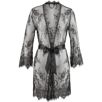 Kleidung Damen Pyjamas/ Nachthemden Lascana Kimono Verlockung Perlschwarz