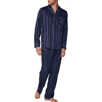 Kleidung Herren Pyjamas/ Nachthemden Admas For Men Pyjama-Satin-Loungewear Hemd und Hose Stripes Admas Blau Marine