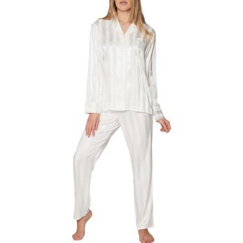 Kleidung Damen Pyjamas/ Nachthemden Admas Pyjama tenue d'intérieur chemise et pantalon Satin Stripes Gelb