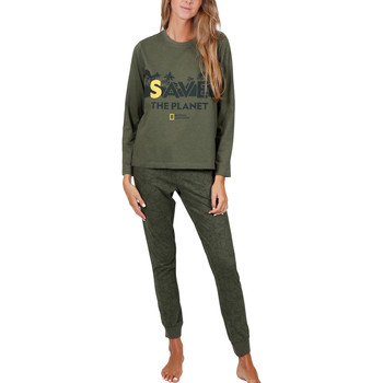 Kleidung Damen Pyjamas/ Nachthemden Admas Pyjama tenue d'intérieur pantalon top Save Planet National Dunkelgrün