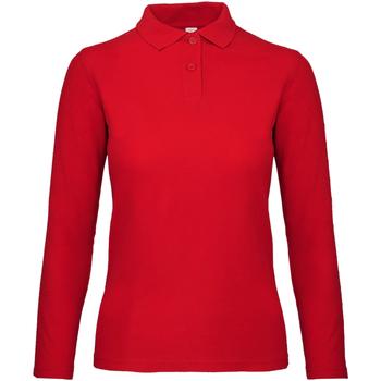 Kleidung Damen Langärmelige Polohemden B And C PWI13 Purpurrot