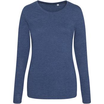 Kleidung Damen Langarmshirts Awdis JT02F Marineblau meliert