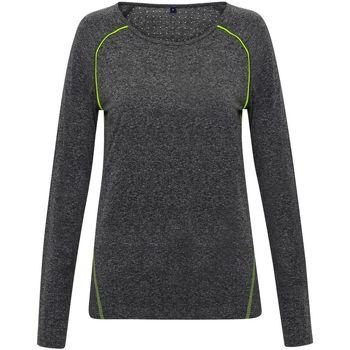 Kleidung Damen Langarmshirts Tridri TR040 Schwarz meliert