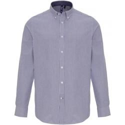 Kleidung Herren Langärmelige Hemden Premier PR238 Weiß/Marineblau