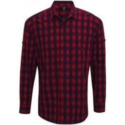Kleidung Herren Langärmelige Hemden Premier PR250 Rot/Marineblau