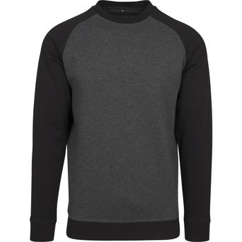 Kleidung Herren Langarmshirts Build Your Brand BY076 Kohle/Schwarz