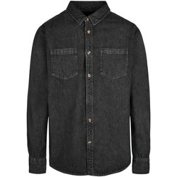 Kleidung Herren Langärmelige Hemden Build Your Brand BY152 Schwarz