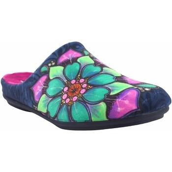 Schuhe Damen Hausschuhe Berevere Go home Lady  in 1301 blau Blau