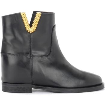 Schuhe Damen Ankle Boots Via Roma 15 Tronchetto in pelle nera con V dorata Schwarz