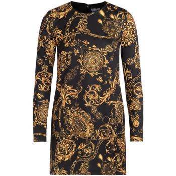 Kleidung Damen Kurze Kleider Versace Jeans Couture Kleid in Schwarz mit goldenem Print Bunt