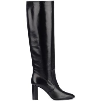 Schuhe Damen Klassische Stiefel Via Roma 15 Stivale con tacco in pelle nera Schwarz