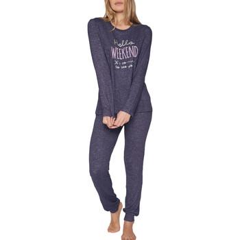 Kleidung Damen Pyjamas/ Nachthemden Admas Pyjama tenue d'intérieur pantalon top manches longues Hello Blau Marine