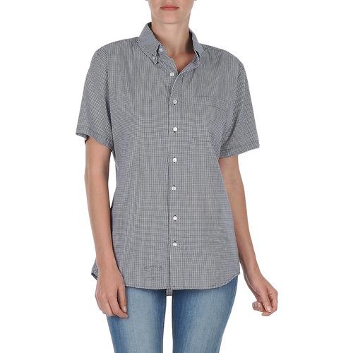 Kleidung Damen Kurzärmelige Hemden American Apparel RSACP401S Weiss / Blau