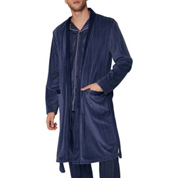 Kleidung Herren Pyjamas/ Nachthemden Admas For Men Morgenmantel Satin Stripes Admas Blau Marine