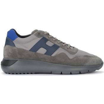 Schuhe Herren Sneaker Low Hogan Sneaker H371 Interactive³ in suede e tessuto grigio e blu Grau