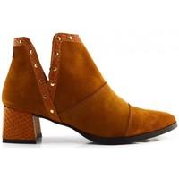 Schuhe Damen Low Boots Popa 016 AURORA TACHAS CUERO Braun