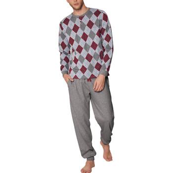 Kleidung Herren Pyjamas/ Nachthemden Admas For Men Pyjamahose und Oberteil Rombos Admas Hellgrau