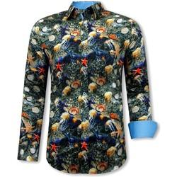 Kleidung Herren Langärmelige Hemden Tony Backer  Zwart, Blauw, Oranje
