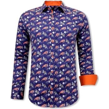 Kleidung Herren Langärmelige Hemden Tony Backer  Zwart, Blauw