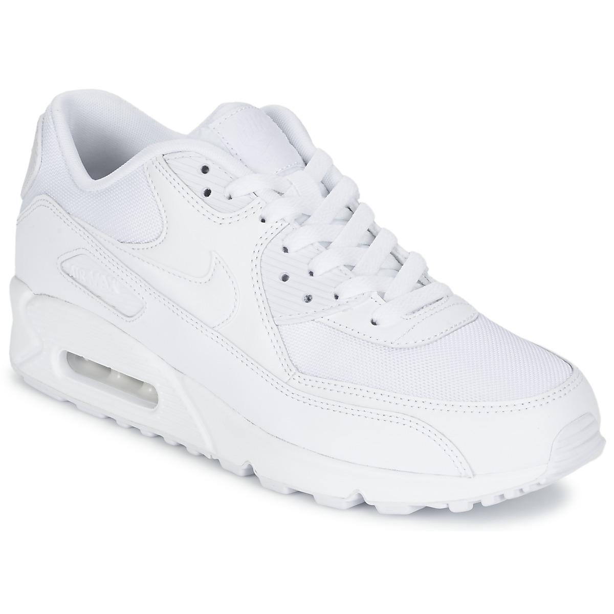Nike AIR MAX 90 ESSENTIAL Weiss - Kostenloser Versand bei Spartoode ! - Schuhe Sneaker Low Herren 111,20 €