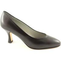 Schuhe Damen Pumps Real Moda Echte Mode 014 schwarze Lederschuhe alleinige Frau decollet Nero
