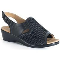Schuhe Damen Sandalen / Sandaletten Calzamedi bequeme Sandale elastische Klinge SCHWARZ