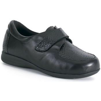 Schuhe Damen Derby-Schuhe Calzamedi breiten und bequemen Mokassins mit Klettverschluss SCHWARZ