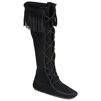 Schuhe Damen Klassische Stiefel Minnetonka FRONT LACE HARDSOLE KNEE HI BOOT Schwarz