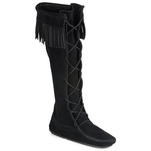 Minnetonka FRONT LACE HARDSOLE KNEE HI BOOT Schwarz Schuhe Klassische Stiefel Damen 155