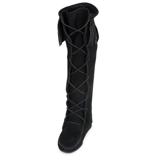 Minnetonka FRONT LACE HARDSOLE  KNEE HI BOOT Schwarz  HARDSOLE Schuhe Klassische Stiefel Damen 155 2e1469