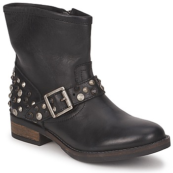 Schuhe Damen Boots Pieces ISADORA LEATHER BOOT Schwarz
