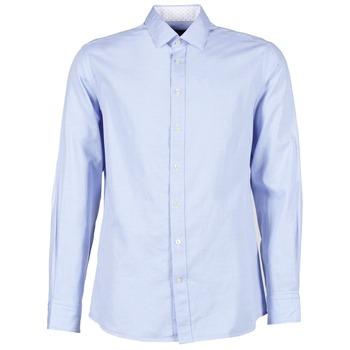 Kleidung Herren Langärmelige Hemden Hackett SQUARE TEXT MUTLI Blau