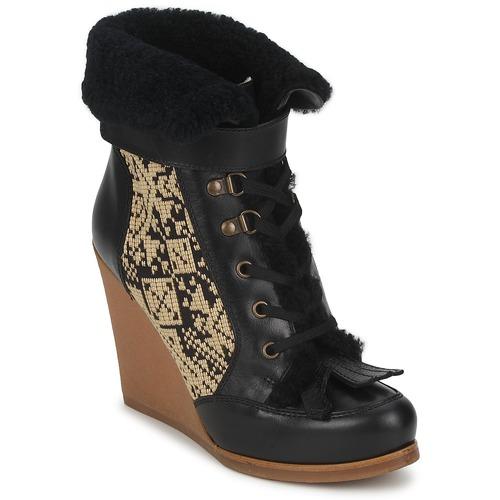 Etro DENISE Schwarz / Beige Schuhe Low Boots Damen 336,50