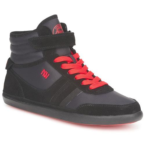Dorotennis MONTANTE STREET LACETS + VELCRO Schwarz Schuhe Sneaker High Damen 35