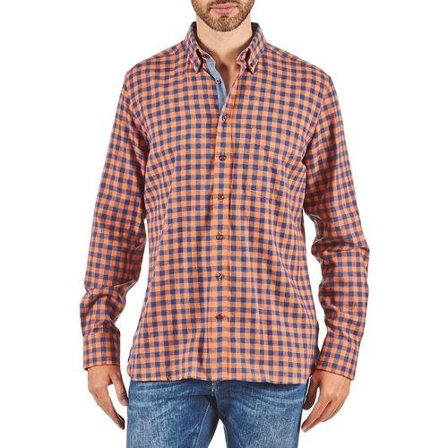 Kleidung Herren Langärmelige Hemden Hackett SOFT BRIGHT CHECK Orange / Blau